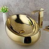ZHQJY Baño de oro pulido Lavabo de lavabo de cerámica Juego de grifería de latón macizo chapado en oro Lavabo de lavabo de recipiente con desagüe pop