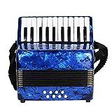 M-zutx 22 teclas 8 bajos Niños tocando el acordeón Principiante adulto tocando el acordeón Acordeón conveniente for correas fijas Teclas en blanco y negro Acordeón elegante y hermoso (Color : Azul)
