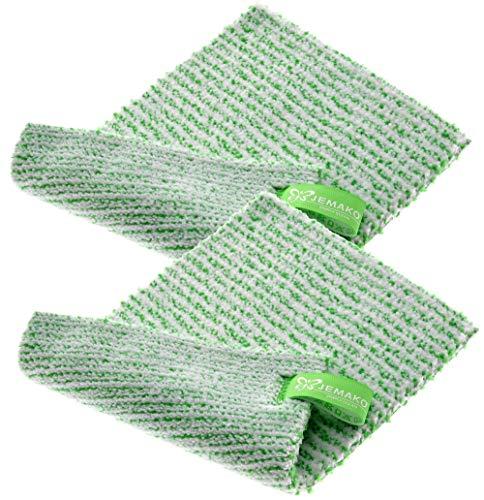 Jemako - Set di 2 panni doppi, 18 x 24 cm, in fibra verde, con rete a maglia fine Sinland