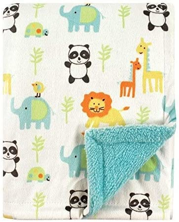 Luvable Friends Unisex Baby Plush Blanket with Sherpa Back Neutral Animals One Size product image