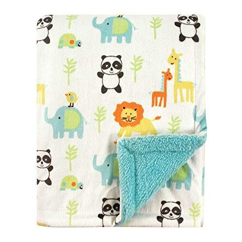 Luvable Friends Unisex Baby Plush Blanket with Sherpa Back, Neutral Animals, One Size