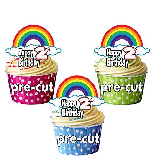 PRECUT Regenbogen - 2e Verjaardag - Eetbare Cupcake Toppers/Cake Decoraties (Pak van 12)