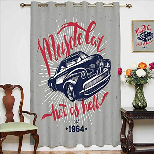 Cars Blackout Patio Door Curtains Hot as Hell Muscle Car Quote Classic Vintage Sports Car in Navy Blue Grommets Panels Printed Curtains ,Single Panel 52x63 inch,for Bedroom Navy Blue Red Pale Grey