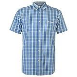 Pierre Cardin - Camisa de cuadros de manga corta para hombre Azul/Verde/Blanco L