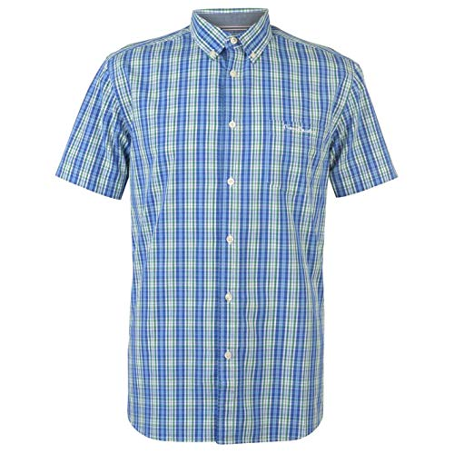 Pierre Cardin - Camisa de cuadros de manga corta para hombre
