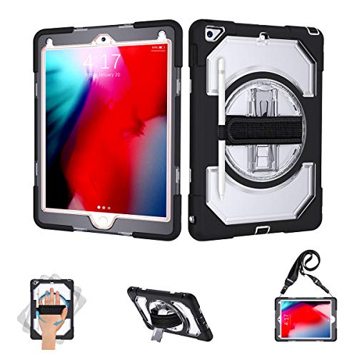 SUPFIVES iPad 6th Generation Case Three Layer Hybrid Drop Protection Case with Adjustable Shoulder Strap+Hand Strap+360 Rotating Stand+Stylus Pencil Holder for iPad 6th Generation 9.7'' (Clear+Black)