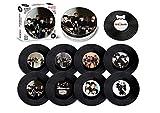The Beatles - Juego de posavasos de vinilo con abrebotellas magnético y lata de 8 piezas por Retro Musique