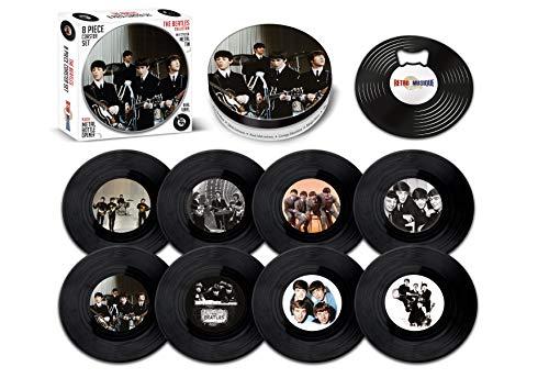 Retro Musique The Beatles – 8-teiliges Mini-Vinyl-Schallplatten-Untersetzer-Set mit Dose und magnetischem Flaschenöffner