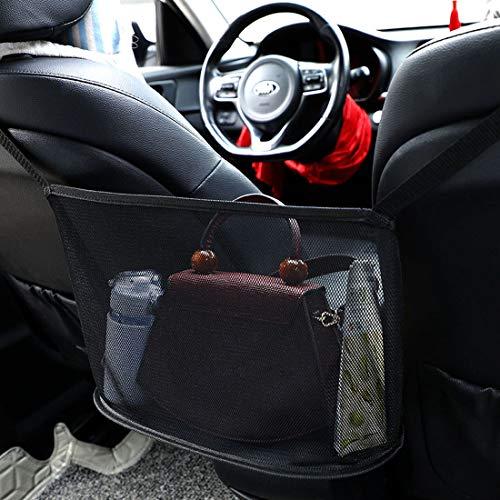 AOXOI Auto-Netztasche Handtaschen, Aufbewahrungstasche zwischen Autositzen Car Net Pocket Handbag Holder Handtaschen/Snacks/Wallets/Getränke/Handys aufbewahren für Auto und LKW-Schwarz