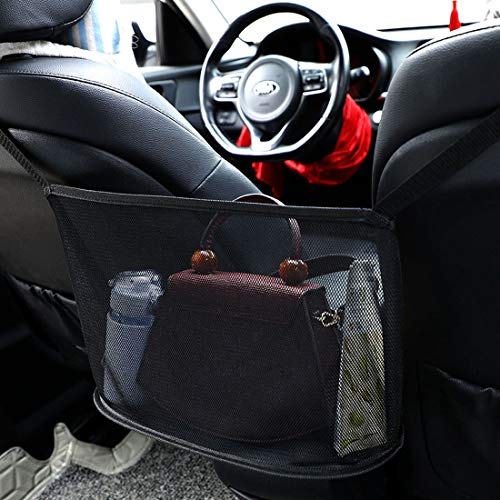 Auto-Netztasche Handtaschen, Aufbewahrungstasche zwischen Autositzen Car Net Pocket Handbag Holder Handtaschen/Snacks/Wallets/Getränke/Handys aufbewahren für Auto und LKW-Schwarz