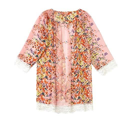 YYH Dames Top Cardigan New Zomer Bloemen Chiffon Kimono Cardigan Sun Protection Beach Cover Up Bluse S PINK