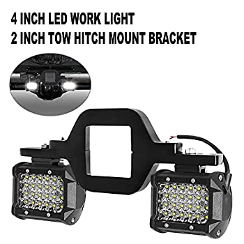Tow Hitch LED Lights EBESTauto 4-Row Hitch LED Lights with 2 Inch Tow Hitch Mounting Bracket 4 Inch 72W LED Work Light Pods Quad Row Off-Road Driving LED Bar for Truck Trailer SUV Pickup