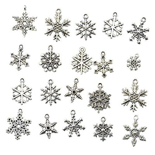 kowaku 40 Uds Colgantes de Plata Tibetana Mixta de Copo de Nieve para Fabricación de Joyas DIY