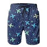 wusond Nay Blue Airplane Comfort - Shorts de Tabla Cortos de Carga para niños Grandes y Altos para Entrenamiento en la Playa al Aire Libre