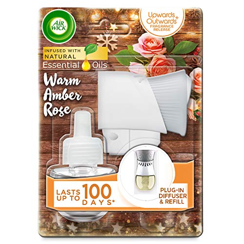 Air Wick Essential Oils Electrical Plug In Kit, Warm Amber Rose Scent, 19ml