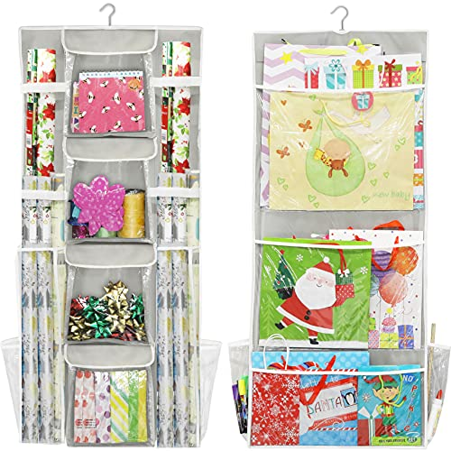 Simple Houseware Double-Sided Hanging Gift Wrap Organizer Storage Pockets, (Set of 1)