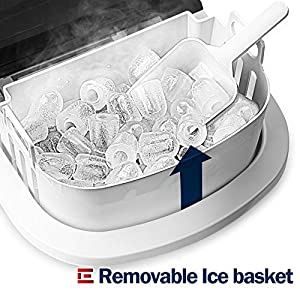 Euhomy Ice Maker Machine Countertop, Makes 26 lbs Ice in 24 hrs-Ice Cubes Ready in 9 Mins, Compact&Lightweight Ice Maker with Ice Scoop and Basket. (Silver)