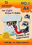 10 Hojas de Papel de Transferencia Térmica Para Camisetas Blancas y Tejidos Claros(A4), Para Impresora de Inyección de Tinta Inkjet,Crea tu ropa o decoraciones personalizadas, Muy facil de usar
