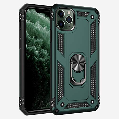 iPhone 11 Case, Extreme Protection Military Armor Dual Layer Protective Cover with 360 Degree Unbreakable Swivel Ring Kickstand for iPhone 11 Jade Green