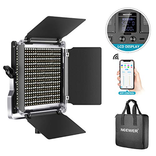 Neewer 528 LED Video Light, Dimmable Bi-Color Photography Lighting Kit with APP Intelligent Control System, Professional…