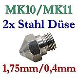 2x MK10 MK11 Präzisions 3D Drucker Düse Edelstahl 0,4mm