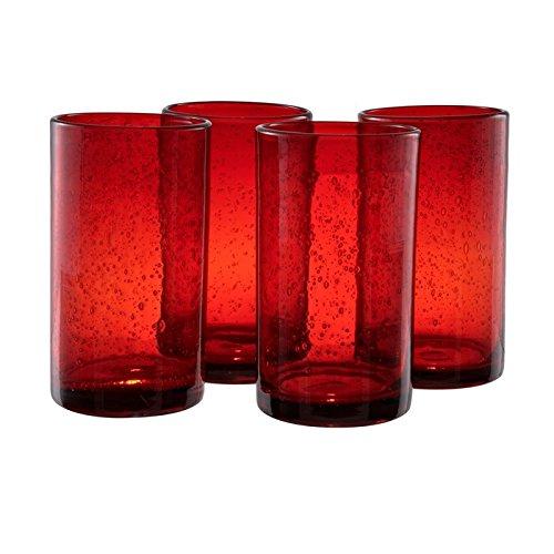 ARTLAND Iris Hiball Glass, Set Of 4, 17 oz, Ruby