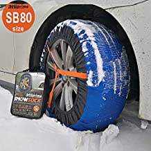 atliprime 2pcs Anti-Skid Safety Ice Mud Tires Snow Chains Auto Snow Chains Fabric Tire Chains Auto Snow Sock on Ice and Snowy Road (AT-SB80)