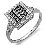 Dazzlingrock Collection 0.32 Carat (ctw) Sterling Silver Round Black & White Diamond Cocktail Right Hand Ring, Size 7