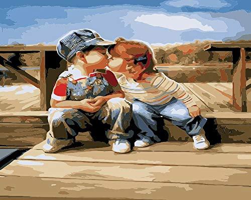 Digitale olieverfschilderij om zelf te maken, kussens, voor kinderen, handgeschilderd, op canvas, cadeau, decoratie voor thuis, kunst, woonkamer, compleet 40 x 50 cm
