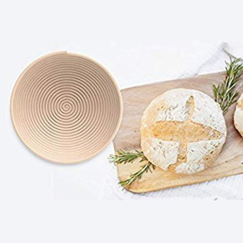 SODIAL 1 X wood Proofing Basket bowl for Bread and Dough Best Round Professional Mode-Round Basket Can Help for Sourdough Breads(9 inch 22cm Diameter)