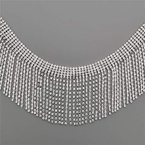 31cm Bling Diamante Diamond Trim Ribbon Tassel Fringe Rhinestone 6cm Width Chain Crystal Gem Sparkle Wedding Bridal Necklace Prom Evening Dress Applique Show Accessories Sash Belt Headwear Craft