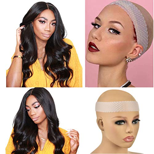 Transparent Silicone Non Slip Wig Grip Head Band for Women, Comfort Elastic Wig Grip Headband to Hold Wigs Frontal Sports and Yoga (Transparent color)