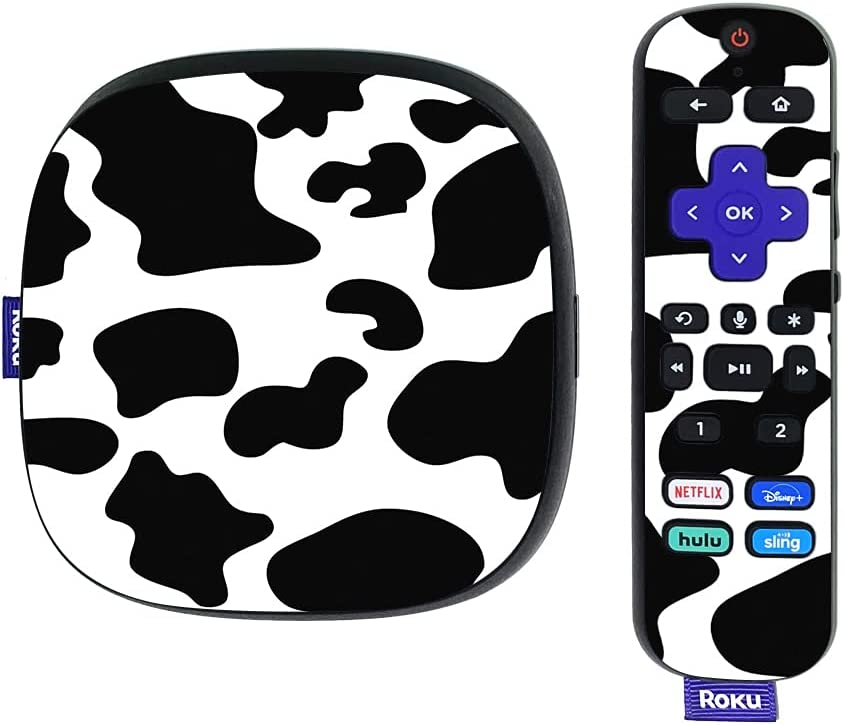 MightySkins Skin Compatible with Roku Ultra HDR 4K Streaming Media Player (2020) - Cow Print | Protective, Durable, and Unique Vinyl Decal wrap Cover | Easy to Apply | Made in The USA