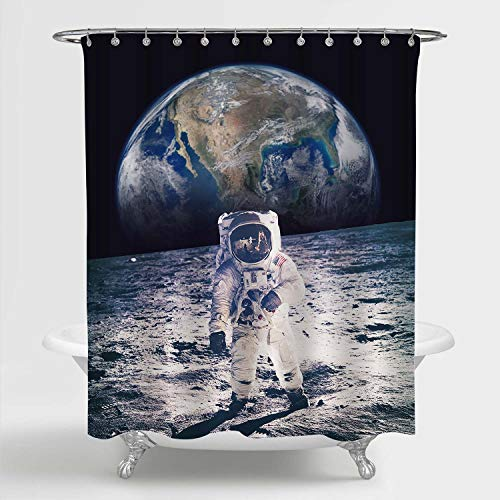MitoVilla NASA Spaceman Walking on The Moon Shower Curtain, Outer Space...