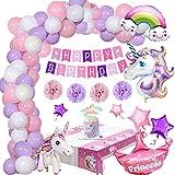 Einhorn Geburtstagsdeko Mädchen, Geburtstags Party Dekorationen mit Einhorn Ballon Happy Birthday Banner Rosa Lila Luftballons Cake Topper Tischdecke für kindergeburtstag Mädchen Festival Deko