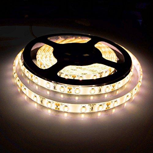Preisvergleich Produktbild AHEVO Flexible LED-Streifen,  weiches warmweiß,  5 m,  300 LEDs 5630 SMD 16.4 ft DC12 V,  wasserdicht,  IP65,  besser als SMD LED-Band,  mit Band, warmweiß,  loop-top,  60.00W 12.00V