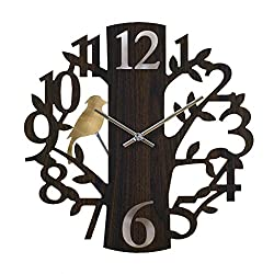 SPICE OF LIFE Edge Pendulum Wall Clock - Analog Time Display, Made of Wood, Vintage Style Design, Home Decoration, Battery Operated, Great Gift Idea - Forest Brown, 16