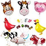 JOYMEMO Farm Animal Party Decorations Barnyard Foil Balloons and Cupcake Topper(Duck Chicken Cow Sheep Pig Donkey)