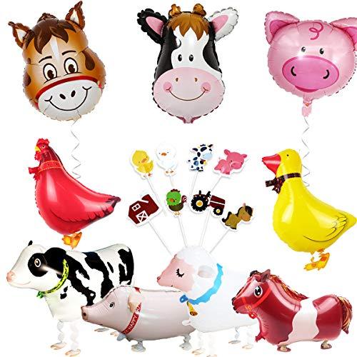 JOYMEMO Bauernhof Tier Partydekorationen Scheunenhof Folienballons und Cupcake Topper (Entenhuhn Kuh Schaf Schwein Esel)