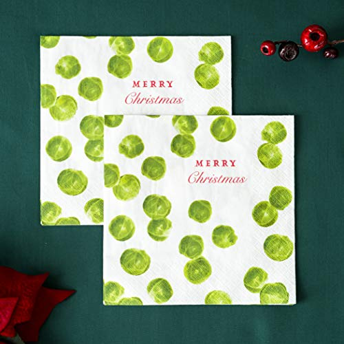 Talking Tables Botanical Christmas Sprout Paper Napkins for Christmas Dinner and Party, Green and White (20 Pack)