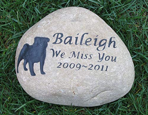 Pug Pet Memorial Stone, Memorial Gift, Grave Marker 8-9 Inch All Dog Breeds Available