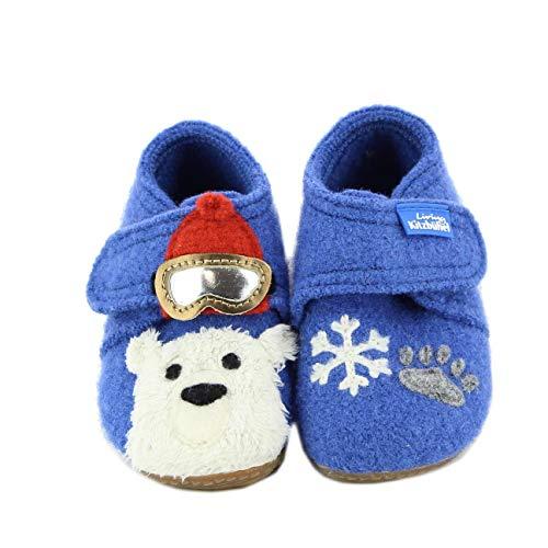 Living Kitzbühel Baby Jungen Babyklett Applikation Eisbär Hausschuhe, Blau (Victoria Blue 558), 23 EU