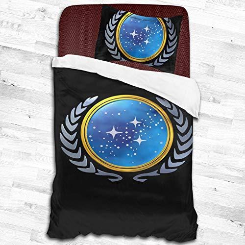 ESCFLAG Star Trek zweiteilige luxuriöse und bequeme Bettwäsche, weiche Mikrofaser, 1 Bettbezug + 1 Kissenbezug (zwei Größen) 134,6 x 200,7 cm