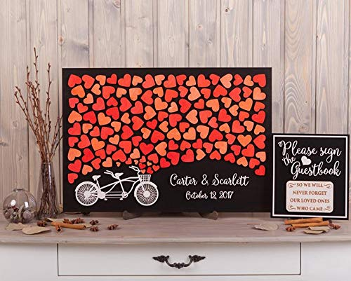 PotteLove 3D Tandem Bike Red Theme Wood Wedding Guest Book Alternative - Custom Name and Date - Unique Rustic Wooden Guestbooks Hearts Leaves Sign Wedding Keepsake