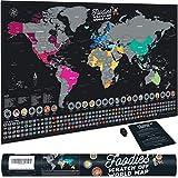 Bonanzana Carte du Monde à gratter Foodies XL | Poster Mappemonde à gratter Les Pays visités avec Leurs Plats & Drapeaux | Gratteur Inclus | Cadeau Original Homme et Femme - 70x42 cm