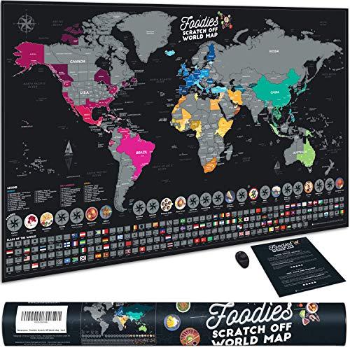 Bonanzana - Carte du Monde à Gratter avec 25 Plats et 197 Drapeaux | Poster Mappemonde Foodies | Carte Murale Voyages avec Gratteur | Cadeau Original Homme et Femme - 70 x 42 cm