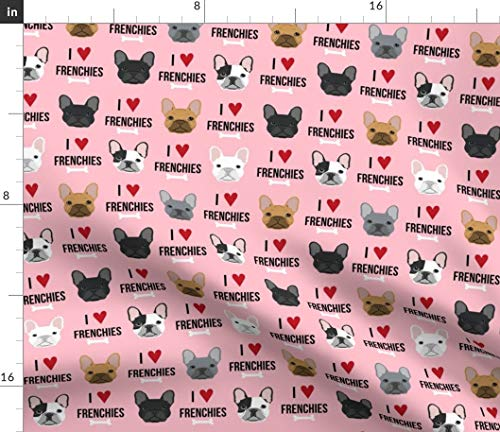 Spoonflower Fabric - Frenchie Dogs Love French Bulldogs Face Pink Bulldog Pet Portrait Printed on Upholstery Velvet Fabric by The Yard - Upholstery Home Decor Bottomweight Apparel