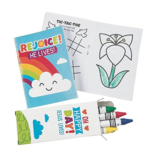 Fun Express He Lives Mini Activity Book Plus Caryons Sets for Easter - 12 Activity Books and 12 Crayon Boxes - Religious Easter Gifts and Sunday School Activities