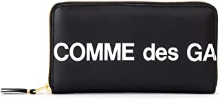 Comme des Garçons Wallet Portafoglio Huge Logo zip around in pelle nera