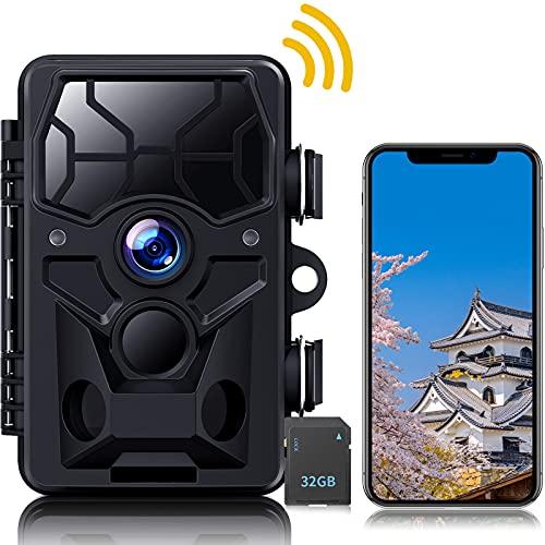 トレイルカメラ 防犯カメラ 1296P&20MP WIFI機能 監視カメラ 屋外防犯カメラ 人感センサー 獣害 留守 野外 家庭用カメラ IP66防塵防水 120度検知範囲 トリガー時間0.3秒 36個赤外線ライト搭載 電源不要 工事不要 32GB SDカード 18ヶ月保証 日本語取扱説明書付き
